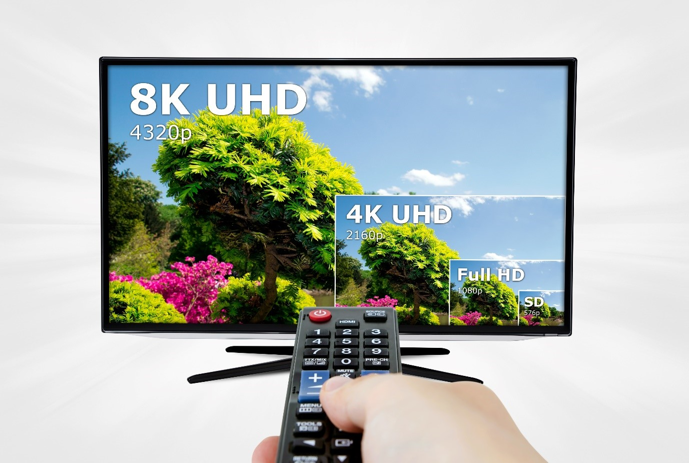 8K tv with remote control